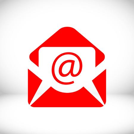 correspondence: Open envelope mail icon, vector illustration. Flat design style