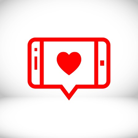 message or love chat on smartphone icon stock vector illustration flat design Illustration