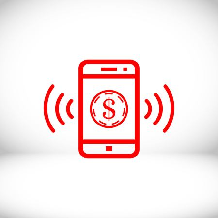 phone and money icon stock vector illustration flat design