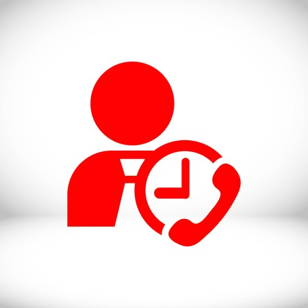 man clock phone icon stock vector illustration flat design