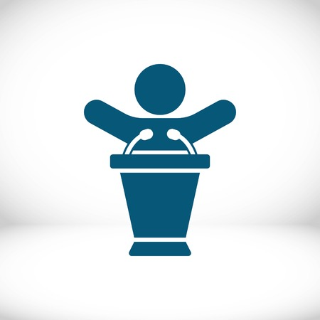 lectern with microphone icon stock vector illustration flat design