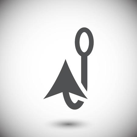 barbed: fishing hook icon stock vector illustration flat design