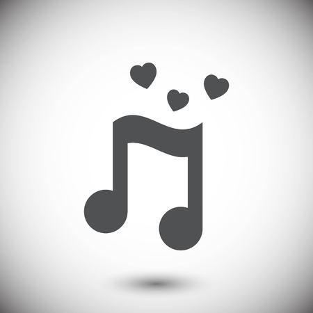 musical note with hearts icon stock vector illustration flat des