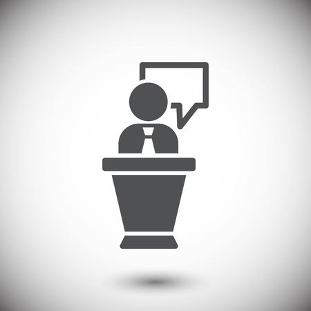 congressman: lectern with microphone icon stock vector illustration flat desi
