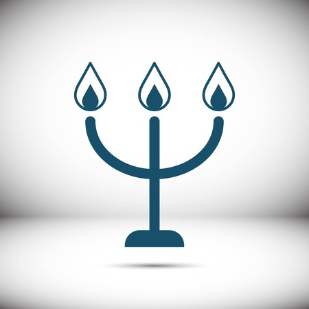 candelabrum: candles on a candlestick icon, vector illustration. Flat design style Illustration