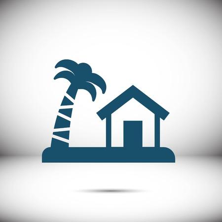 house on the island icon stock vector illustration flat design Illustration