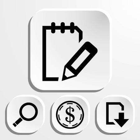 note pad: set icon flat design style vector illustration Illustration