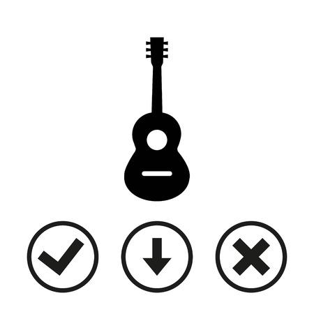 Accoustic guitar sign icon. Music symbol. stock vector illustration flat design Illustration