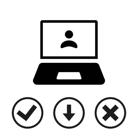 notebook: Laptop with user icon in the middle vector illustration flat design
