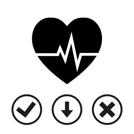 cardiograph: Heart beat icon stock vector illustration flat design Illustration