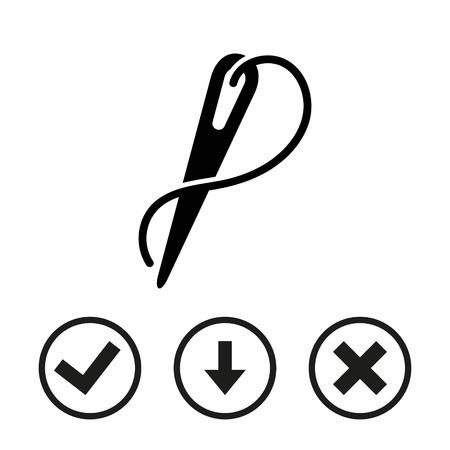 skill: Needle and thread icon stock vector illustration flat design