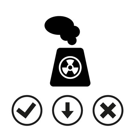 atomic symbol: radioactive icon stock vector illustration flat design