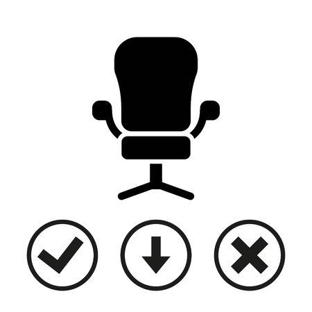 office furniture: Office chair icon stock vector illustration flat design Illustration