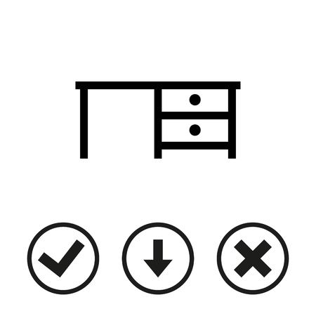 office furniture: Desk icon stock vector illustration flat design Illustration