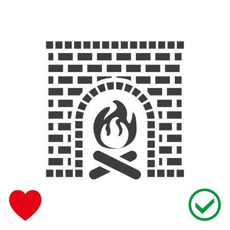 Fireplace icon stock vector illustration flat design.