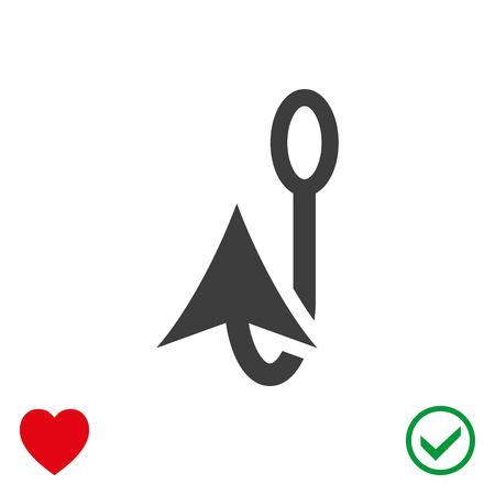 Fishing hook icon stock vector illustration flat design.
