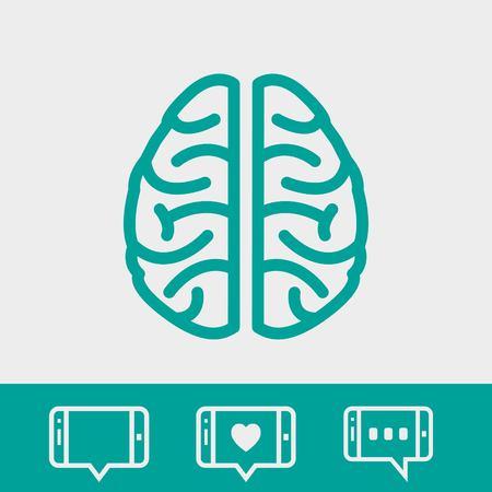 medical symbol: brain icon stock vector illustration flat design