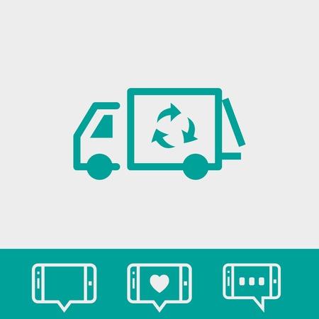 garbage truck icon stock vector illustration flat design Illustration