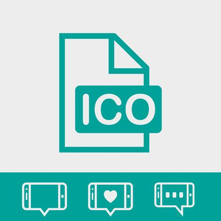 computer education: Ico icon stock vector illustration flat design