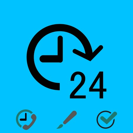around the clock: 24 hours icon  stock vector illustration flat design