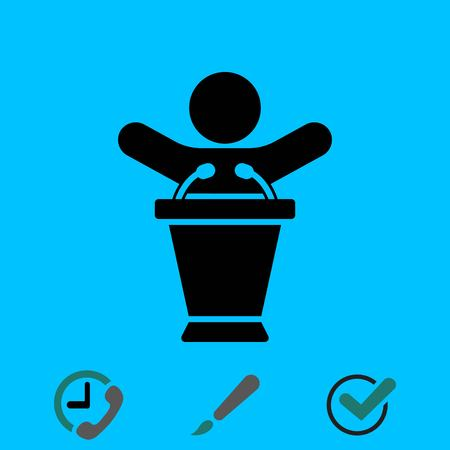 Lectern with microphone icon stock illustration flat design. Illustration