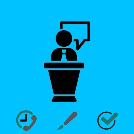 Lectern with microphone icon stock illustration flat design. Vektoros illusztráció