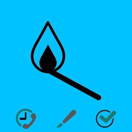 extinguishing: match icon, vector illustration. Flat design style