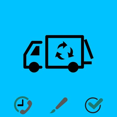 garbage truck icon stock vector illustration flat design Illustration