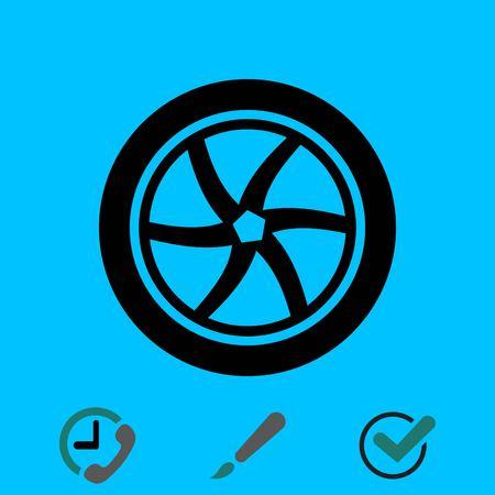 Wheel icon stock vector illustration flat design.