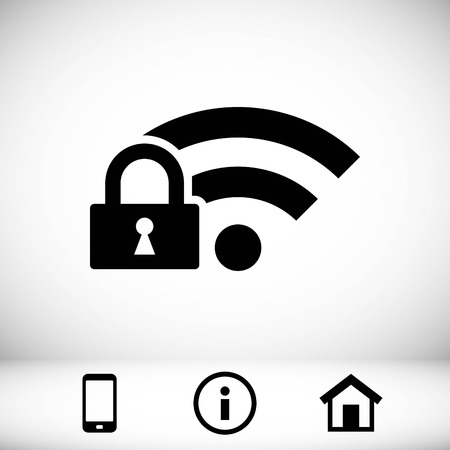 wi: lock wifi icon stock vector illustration flat design