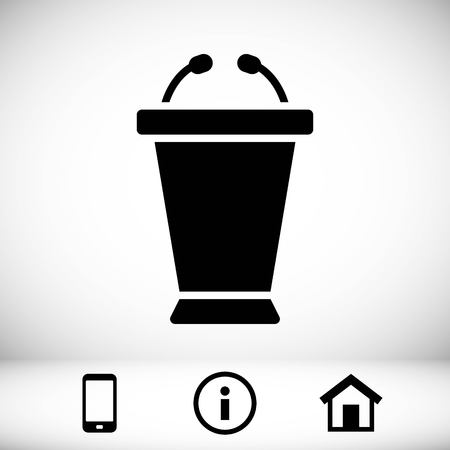 Lectern with microphone icon stock vector illustration flat design.