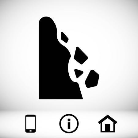 rockfall: rockfall icon stock vector illustration flat design
