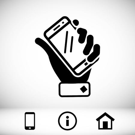 handphone: phone in hand icon stock vector illustration flat design