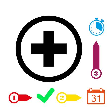 Plus icon stock vector illustration flat design Illustration