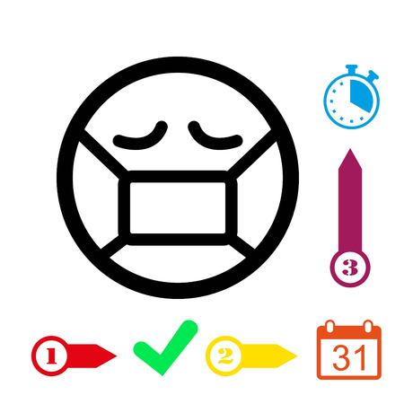 Emoticon with medical mask over mouth icon stock vector illustration flat design Ilustracja