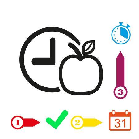 watch Apple Breakfast icon stock vector illustration flat design Illustration