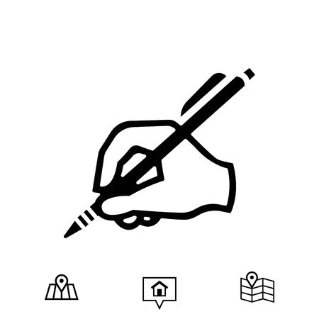 hand holding paper: hand writing icon stock vector illustration flat design Illustration