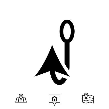 fishhook: Fishing hook icon stock vector illustration flat design Illustration
