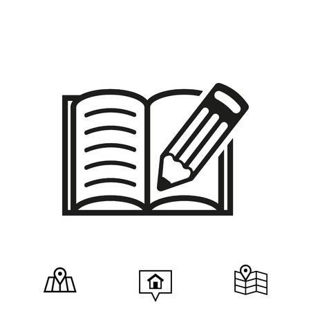 open magazine: open book and pencil icon stock vector illustration flat design Illustration