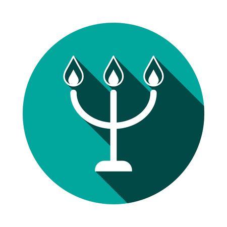 shabat: velas en un icono candlestick, ilustración vectorial. Estilo de diseño plano Vectores