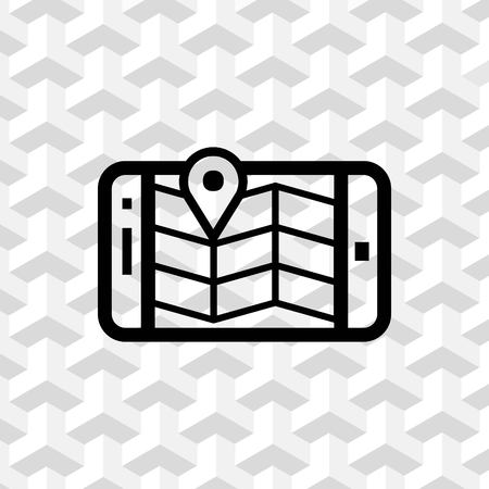gps device: Phone and map icon stock vector illustration flat design Illustration