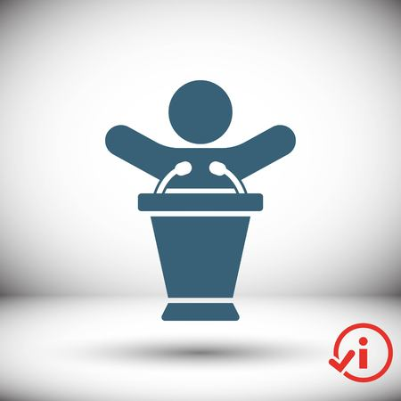delegar: lectern with microphone icon stock vector illustration flat design