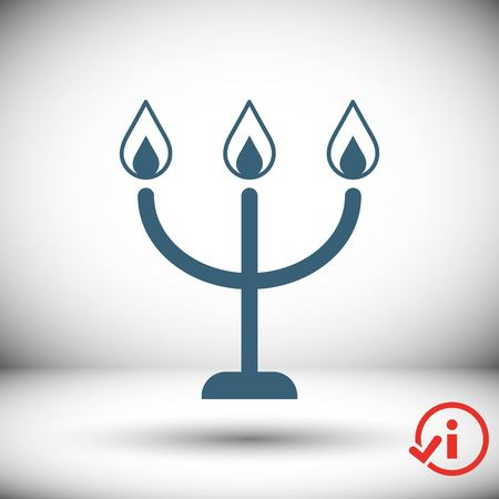 candles on a candlestick icon, vector illustration. Flat design style Illustration