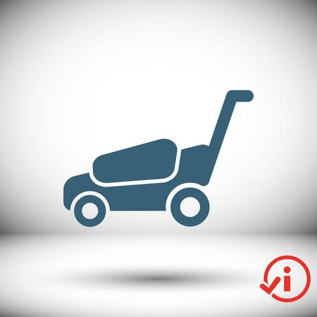 mowing the grass: lawnmower icon stock vector illustration flat design Illustration