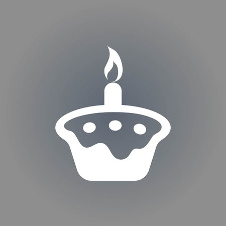 cupcake illustration: Cake with candles icon stock vector illustration flat design