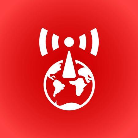 global communication: wifi globe icon stock vector illustration flat design