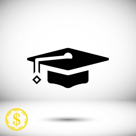Graduation cap icon stock vector illustration flat design