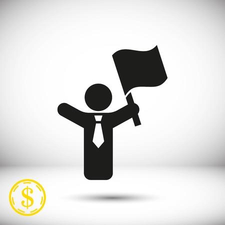 raise the white flag: Icon stock vector illustration flat design style