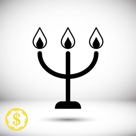 chandelier: candles on a candlestick icon, vector illustration. Flat design style Illustration