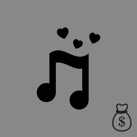logo music: musical note with hearts icon stock vector illustration flat design
